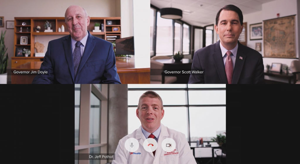 Former Wisconsin governors Scott Walker and Jim Doyle appear in COVID vaccine PSA