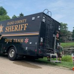 Dane County Sheriff's Office searches a pond behind the Halderson residence
