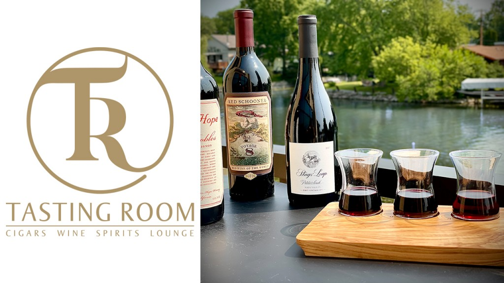 Tasting Room logo with a wine flight and bottles of wine
