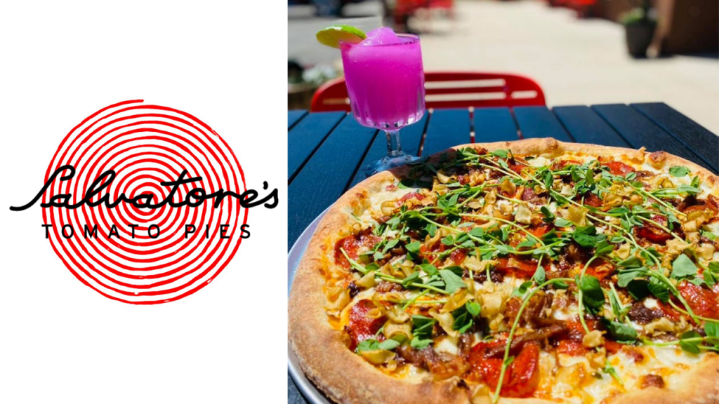 Salvatore's logo with a pizza