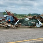 Rubble on the side of a Jefferson County road from strong storms