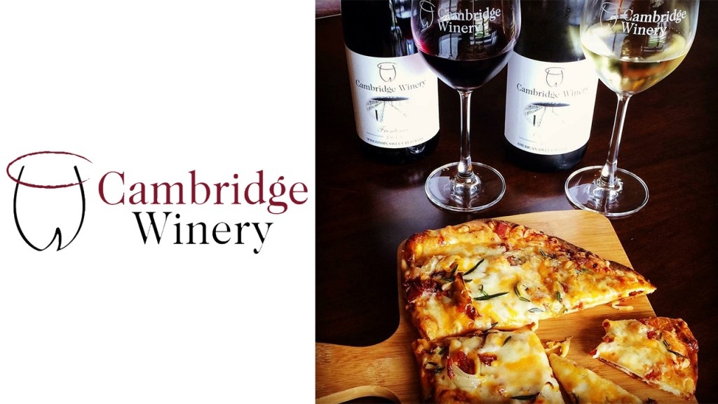 Cambridge Winery logo with pizza and two bottles of wine