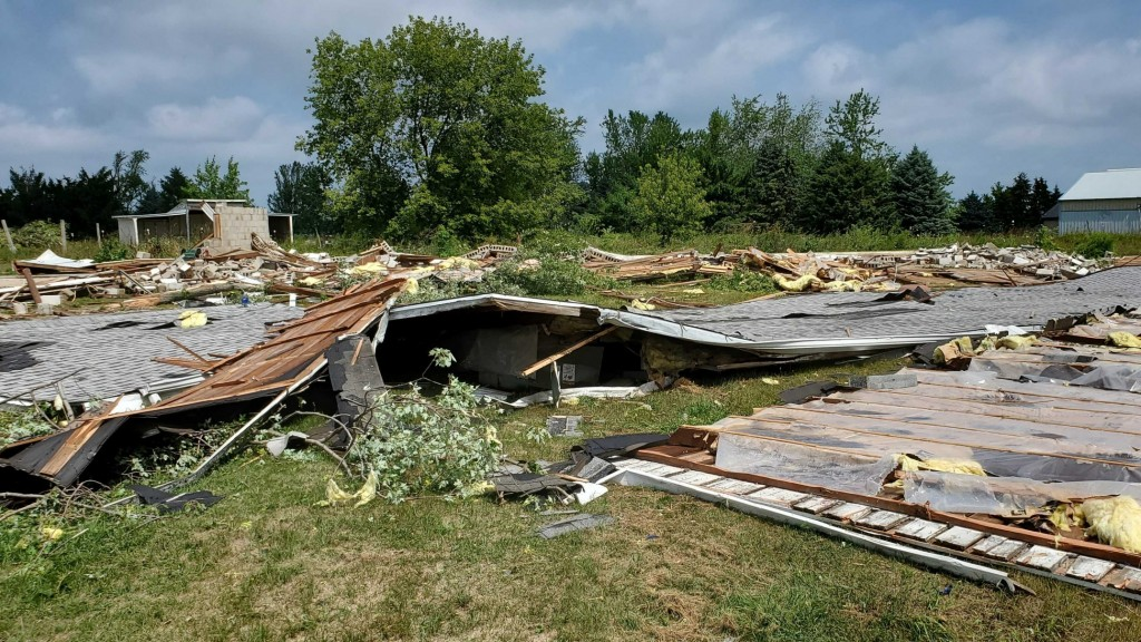 Severe storms completely flattened a structure in Jefferson County