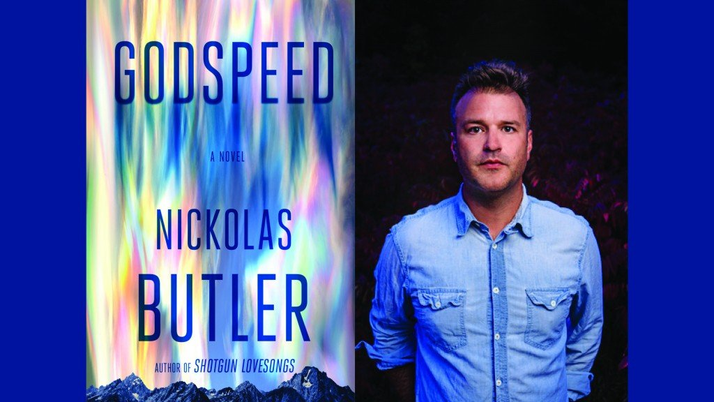 """Deep blue solid background behind side by side images. On the left is the cover of """"Godspeed"""" and on the right is author Nickolas Butler in a blue denim shirt with his hands folded behind his back."""