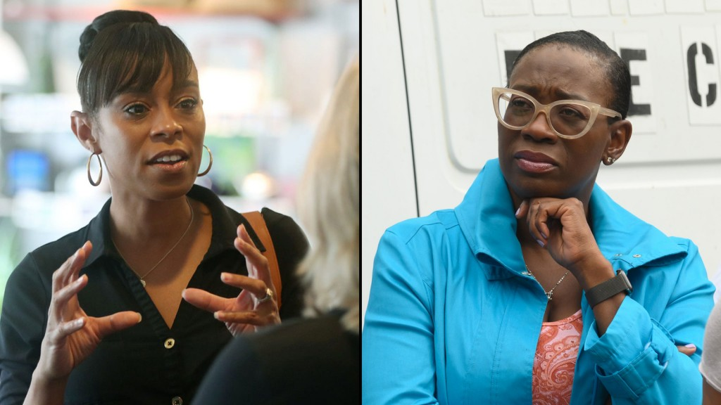 Nina Turner (right), the former state senator and prominent surrogate for Vermont Sen. Bernie Sanders' presidential campaigns, is battling the establishment-backed Shontel Brown, the Cuyahoga County Democratic chairwoman and county council member, in a race that also features 11 other long-shot candidates bidding to represent the 11th District, which stretches from Cleveland south to Akron.