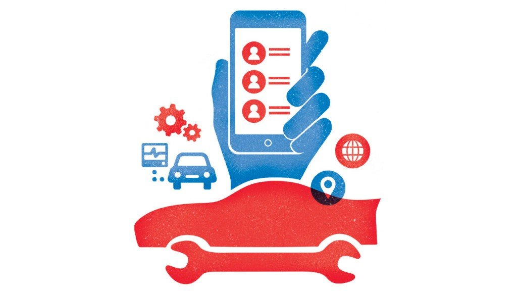 graphic of a car with a wrench and a phone