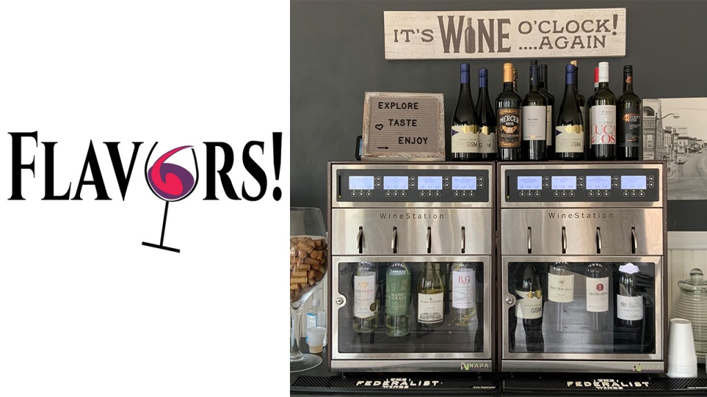 Flavors logo with bottles of wine