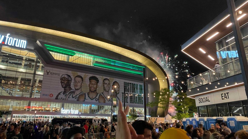 The Deer District outside of Fiserv Forum after Game 3 of the 2021 NBA Finals