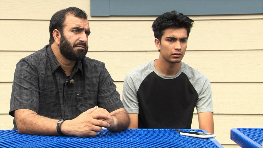 Afghanistan refugees Asal Din Gojar and his son