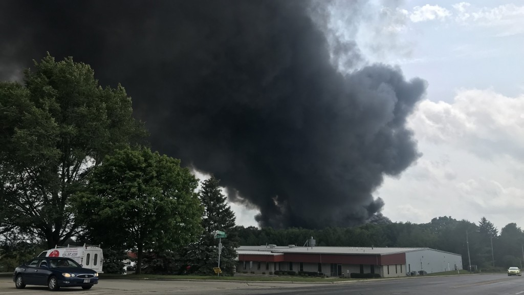 Smoke plumes from a Fort Atkinson fire