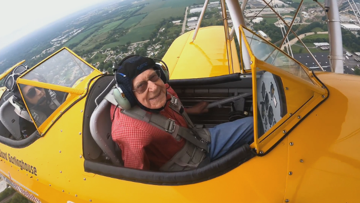 Lewis Harned in plane