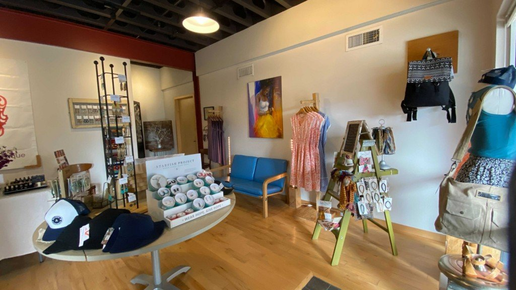 The fair trade fashion boutique shop 'Change' sells bandanas, dresses and jewelry at its temporary location.