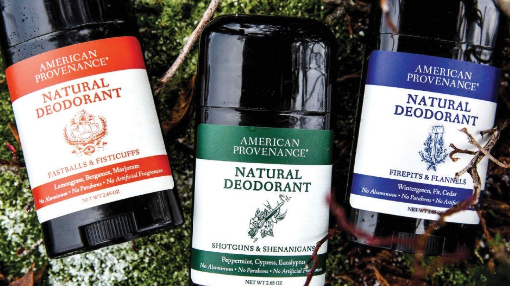 three containers of American Provenance deodorant