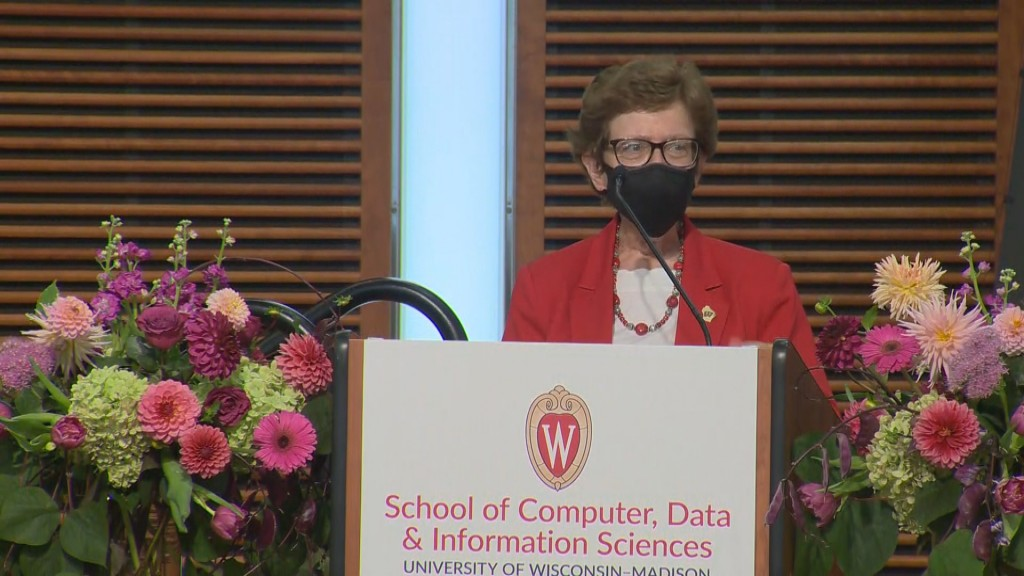 UW-Madison Chancellor Rebecca Blank speaks at a Computer Science Presser