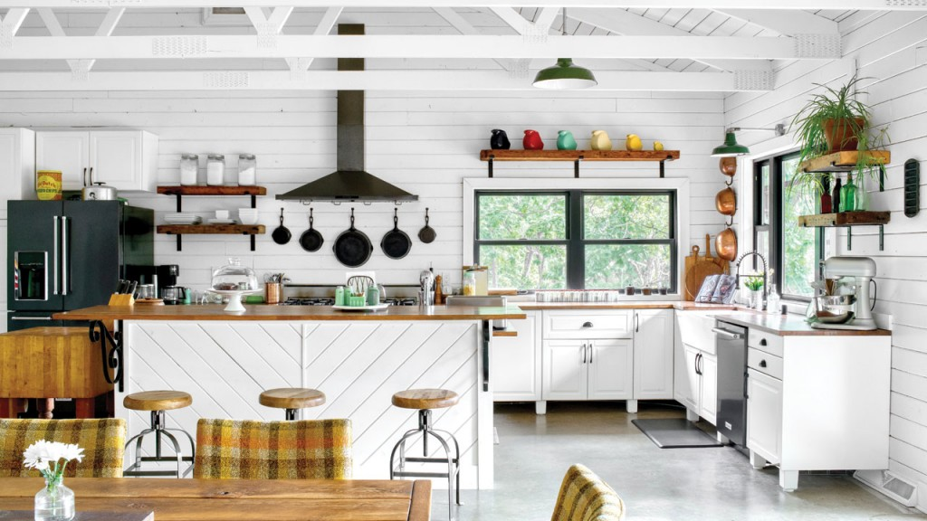 open kitchen space with an island