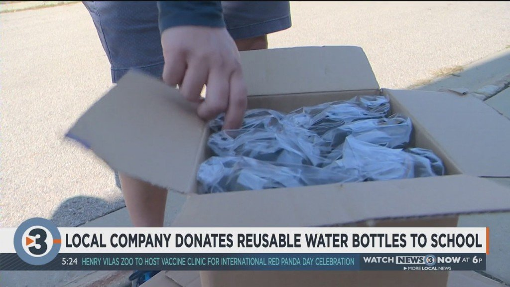 Company Helps Local School In Need Of Reusable Water Bottles