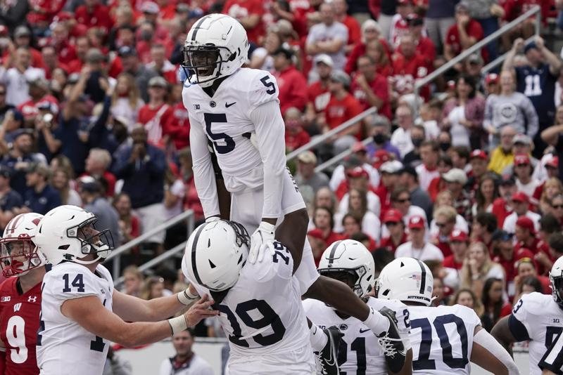 Penn State's Jahan Dotson celebrates his touchdwon catch during the second half of an NCAA college football game against Wisconsin Saturday, Sept. 4, 2021, in Madison, Wis. Penn State won 16-10. (AP Photo/Morry Gash)