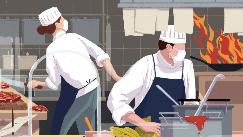illustration of people working in the kitchen with a pan on fire and tickets overwhelming the counter