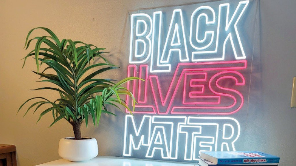 Neon sign that says Black Lives Matter