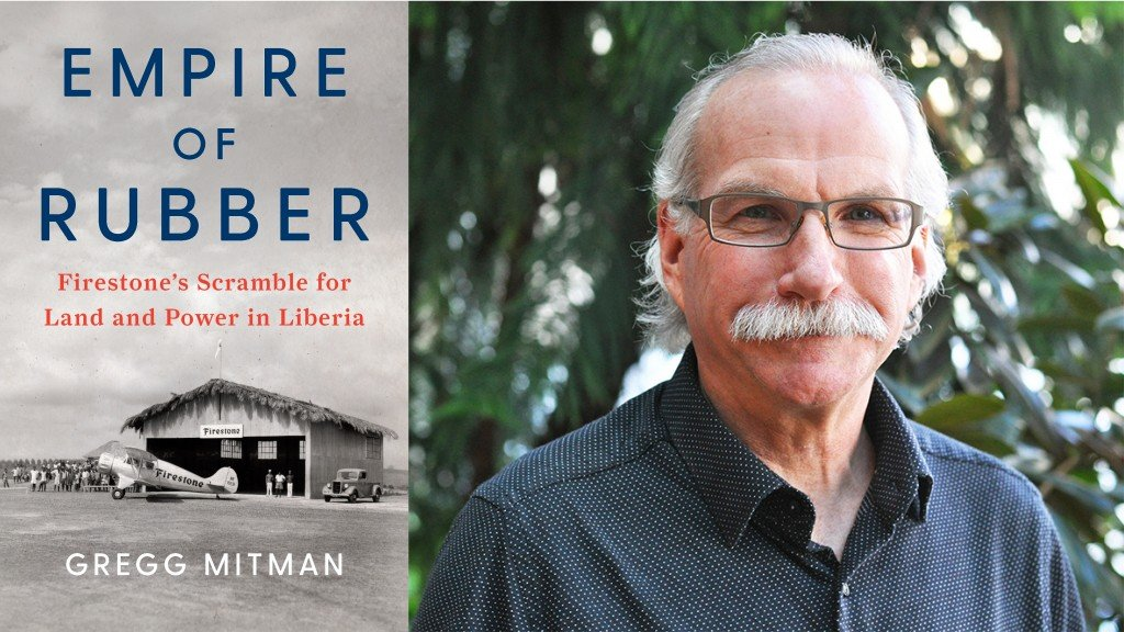 The cover of Empire of Rubber is shown on the left and author Gregg Mitman is pictured on the right with a gray mustache and glasses.Gregg Mitman