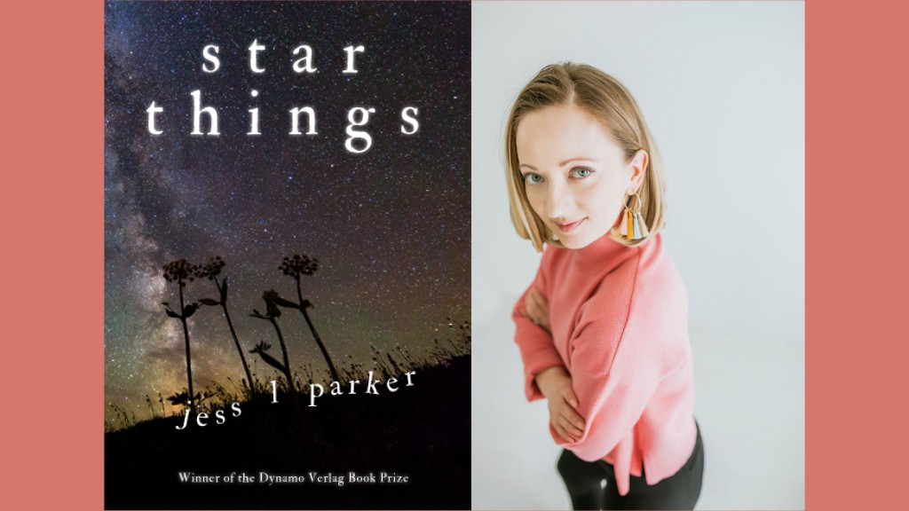 On the left is the cover of the book Star Things and on the right the author poet Jess. L Parker stands in a pink sweater with blonde hair and her arms crossed