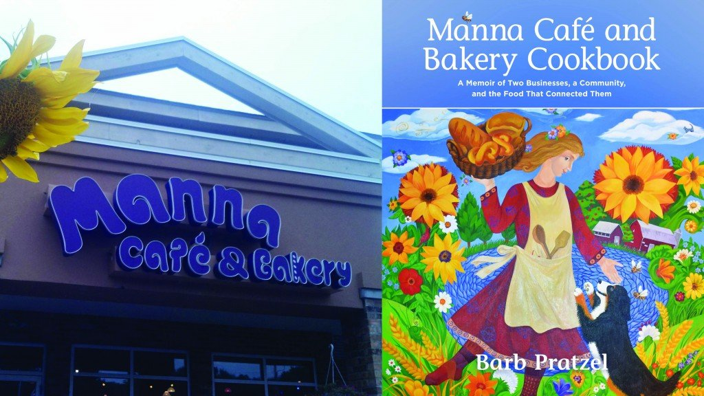 The former Manna care & bakery sign on the left and a copy of the new manna cookbook on the right