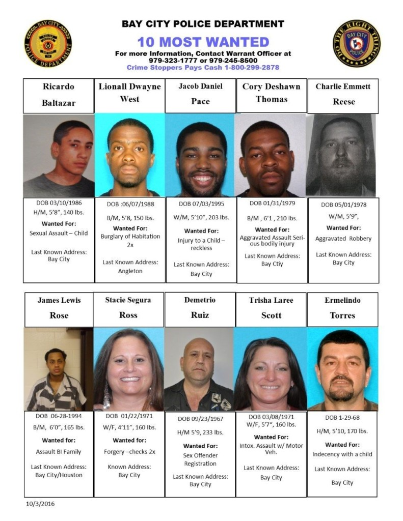 Bay City's Releases Top 10 Most Wanted Criminals