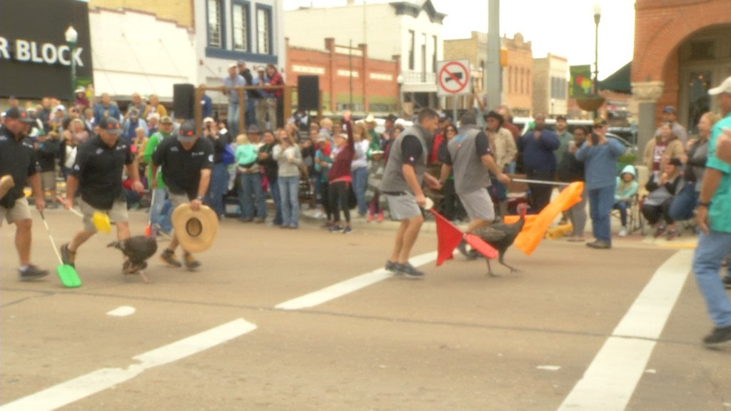 There were hundreds of people gathered in Cuero to watch the Great Gobbler Gallop race