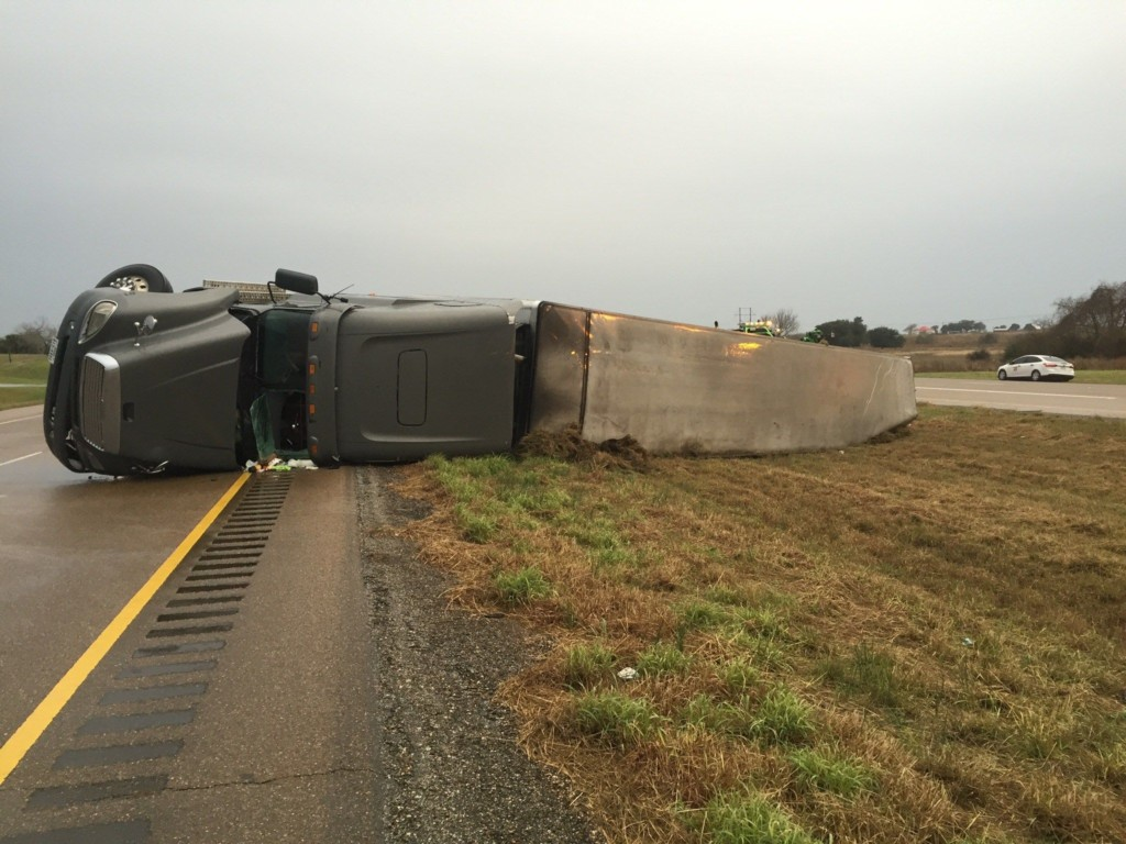 A Section of HWY 77 Closes After a Semi Truck Flips Over
