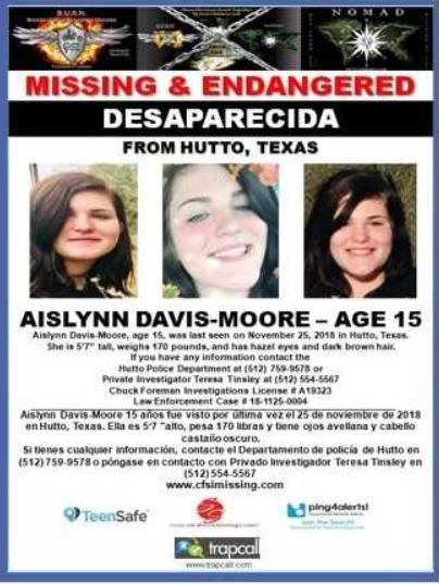 15 year old girl reported missing in Hutto, Texas