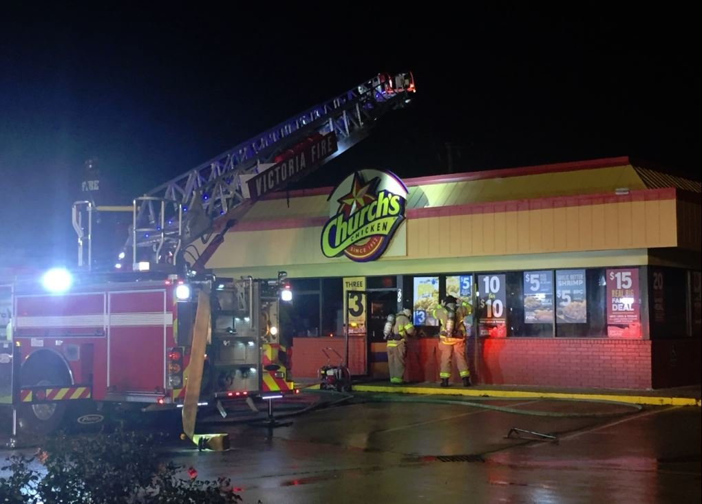 Victoria Fire Department works blaze at Church's Chicken in Five Points Area