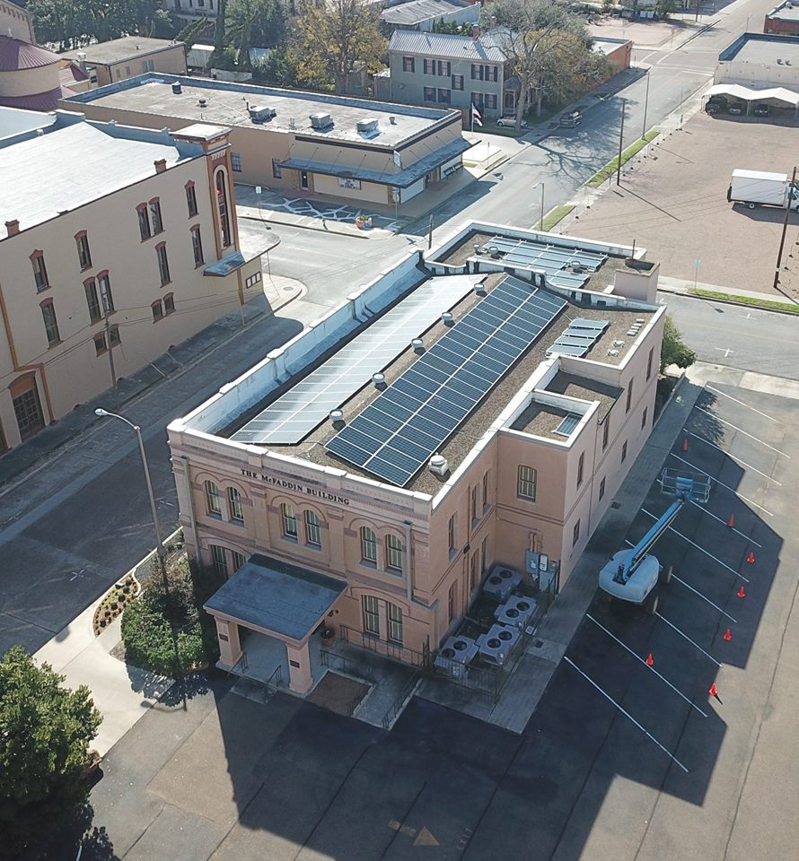 Solar Panels installed on historic McFaddin Building