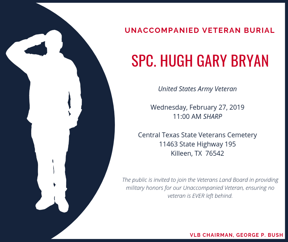 Unaccompanied Veteran burial to be held at the Central Texas State Veterans Cemetery