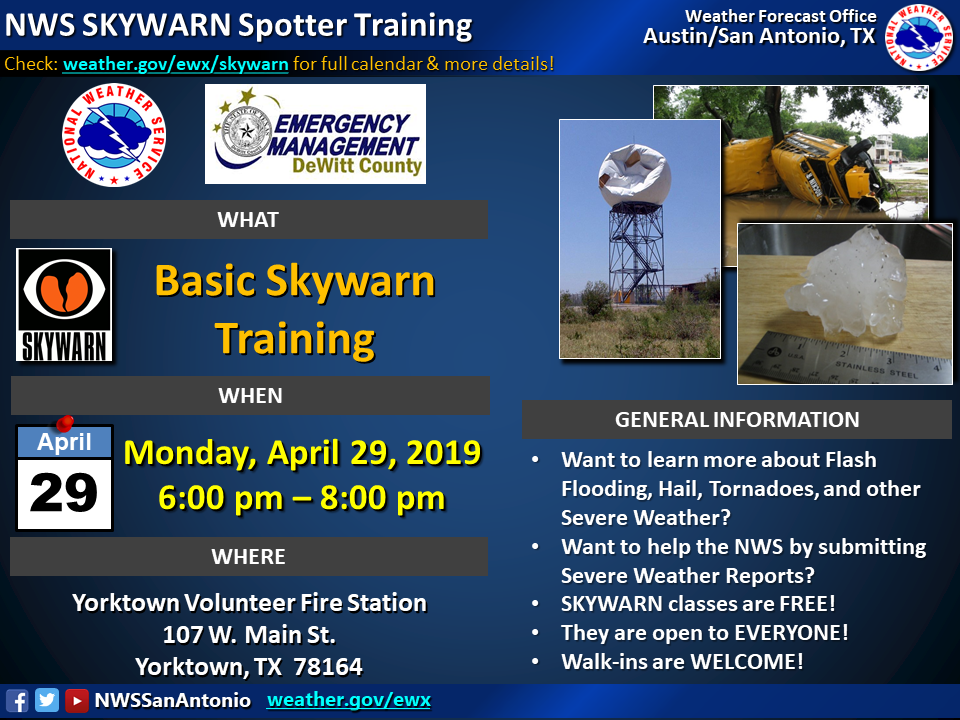 DeWitt County Emergency Management to offer SkyWarn classes