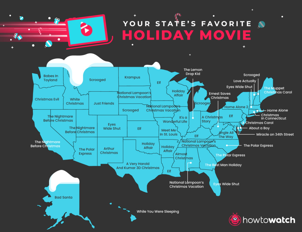 What is each state's favorite holiday movie?