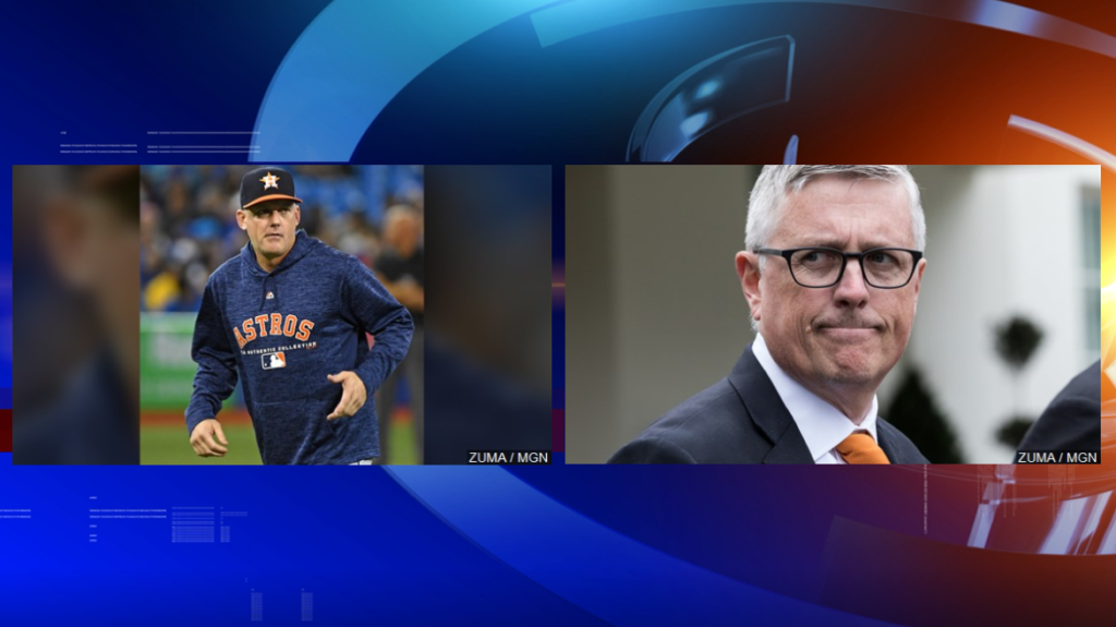 Astros fired manager AJ Hinch and general manager Jeff Luhnow.