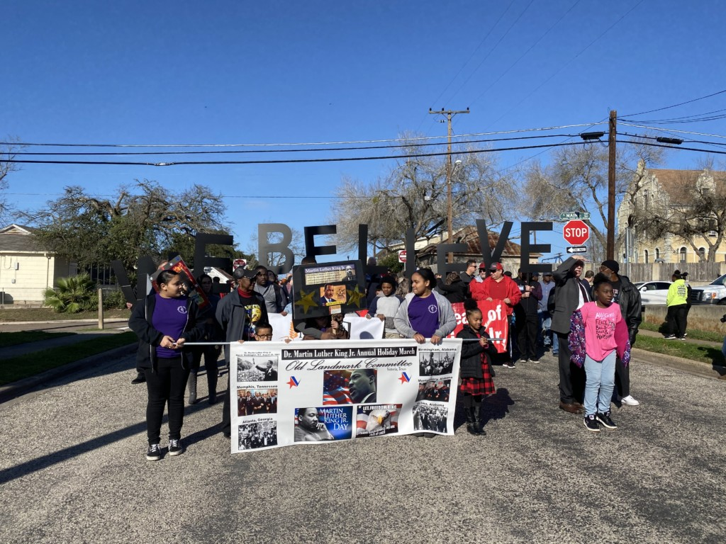 Members of the community attend the MLK march 2020