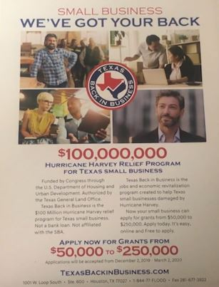 The Texas Land Office will distribute a 100,000 million dollars to small businesses damaged by Hurricane Harvey