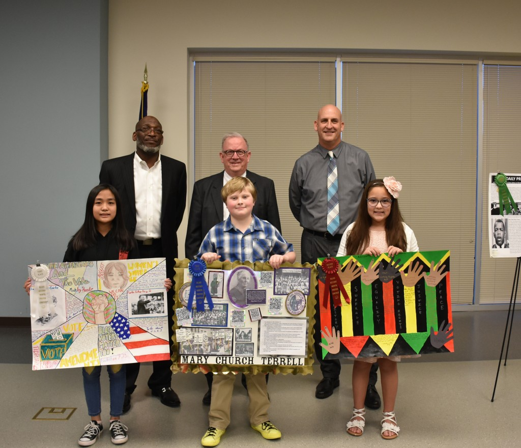 Photo of winners of Black History Month poster contest