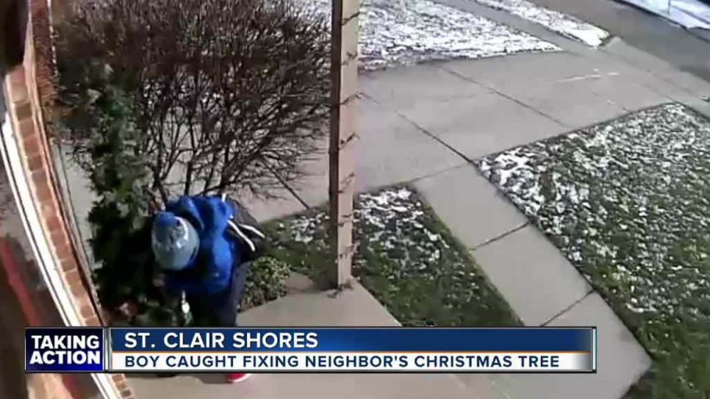 Boy caught fixing neighbor's Christmas tree on porch camera
