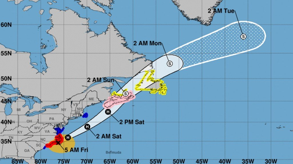 Hurricane Dorian heads to Canada