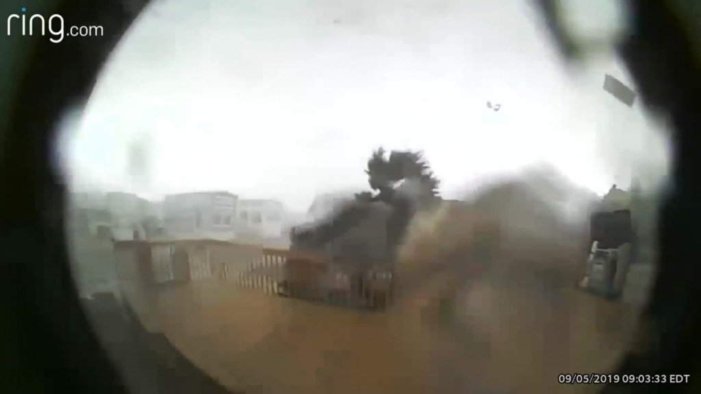 Man sees Hurricane Dorian destroy his home on Ring cam