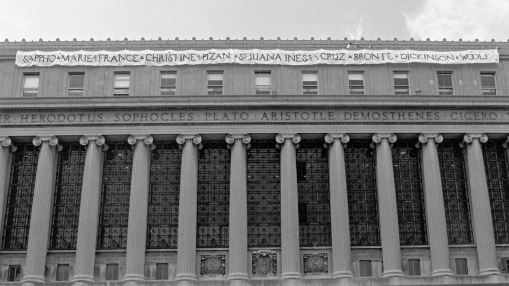 Banner on Columbia University library promotes female authors