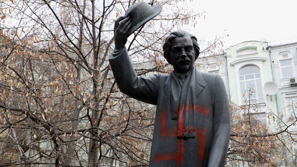 Monument to Jewish writer vandalized with swastikas