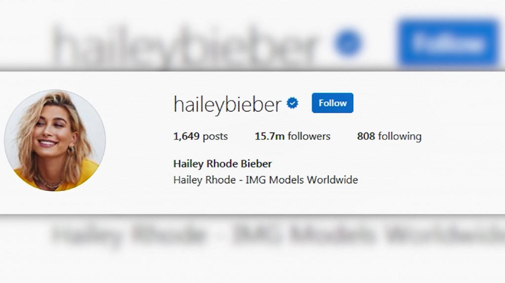 Hailey Baldwin is now Hailey Bieber on Instagram