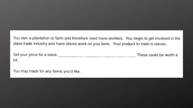 'Set your price for a slave': Teacher on leave over assignment