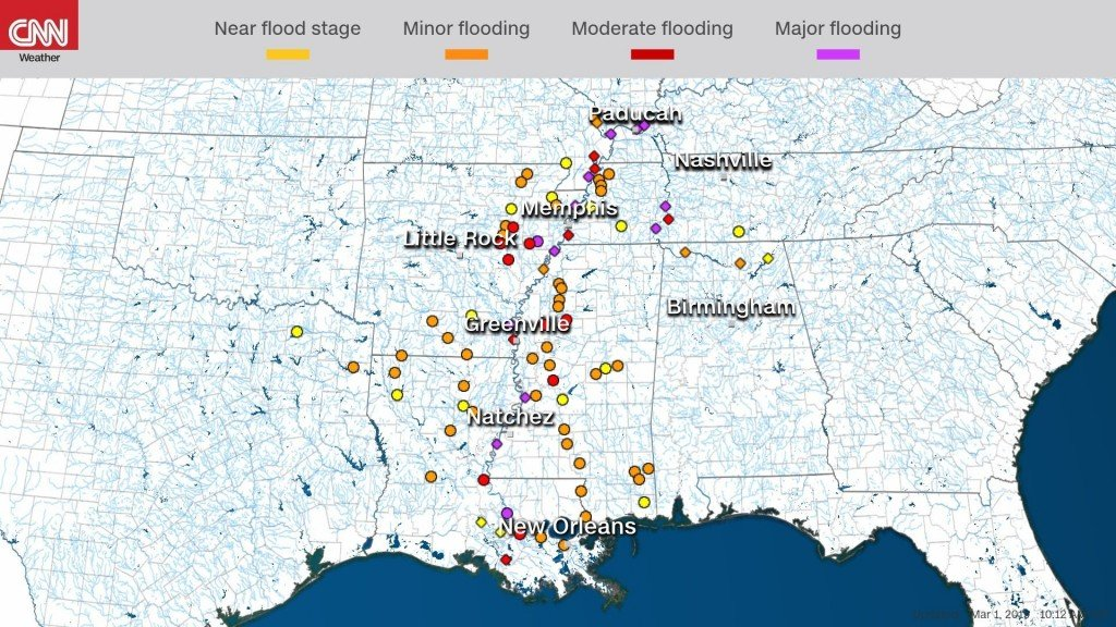 Flooding seen in areas along lower Mississippi River