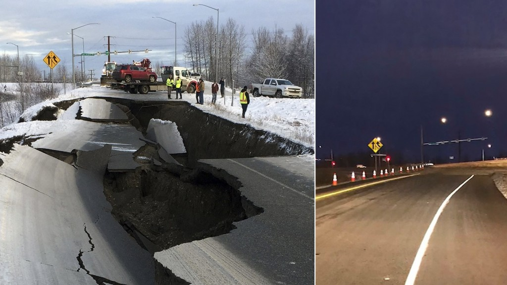 Alaska road already fixed after collapsing during quake