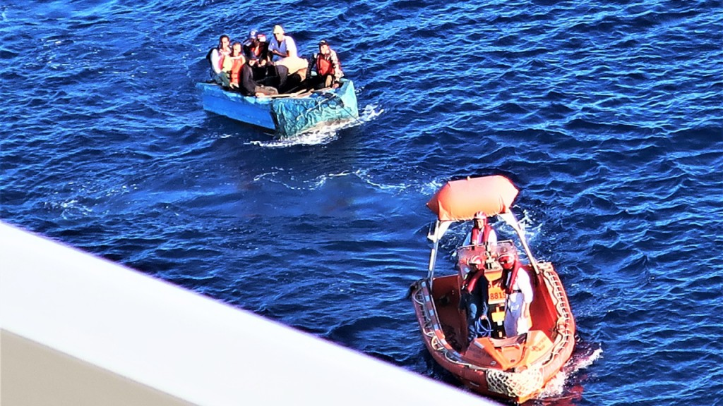 Cruise ship rescues seven migrants from a flimsy boat near Cuba