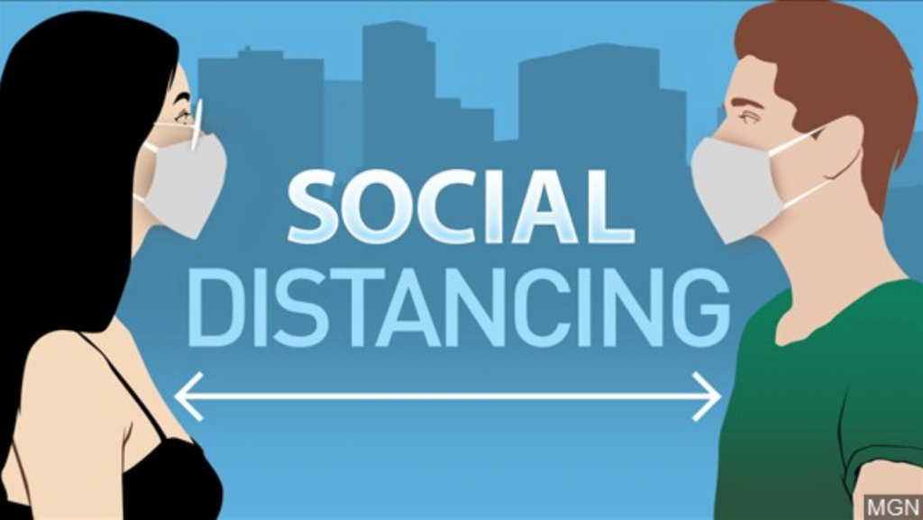 Social distancing graphic showing two individuals standing 6 feet apart
